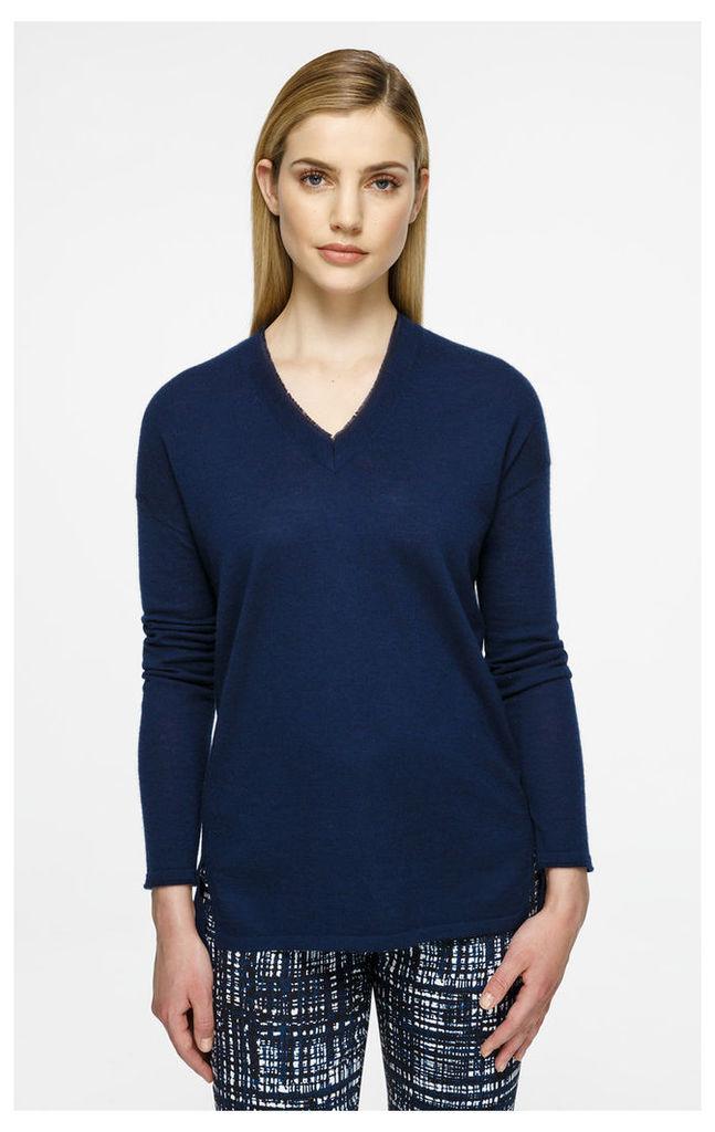 Silk-Trimmed Cashmere Knit