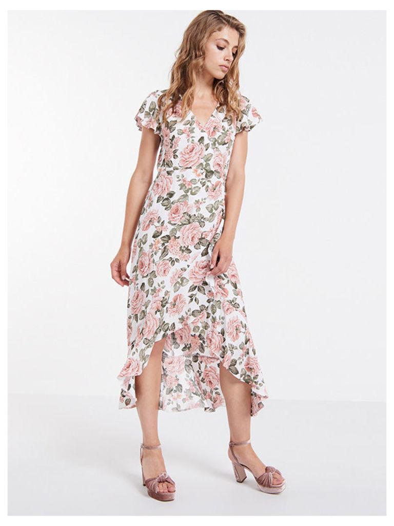 Cream Arden Rose Frill Hem Wrap Midi Dress