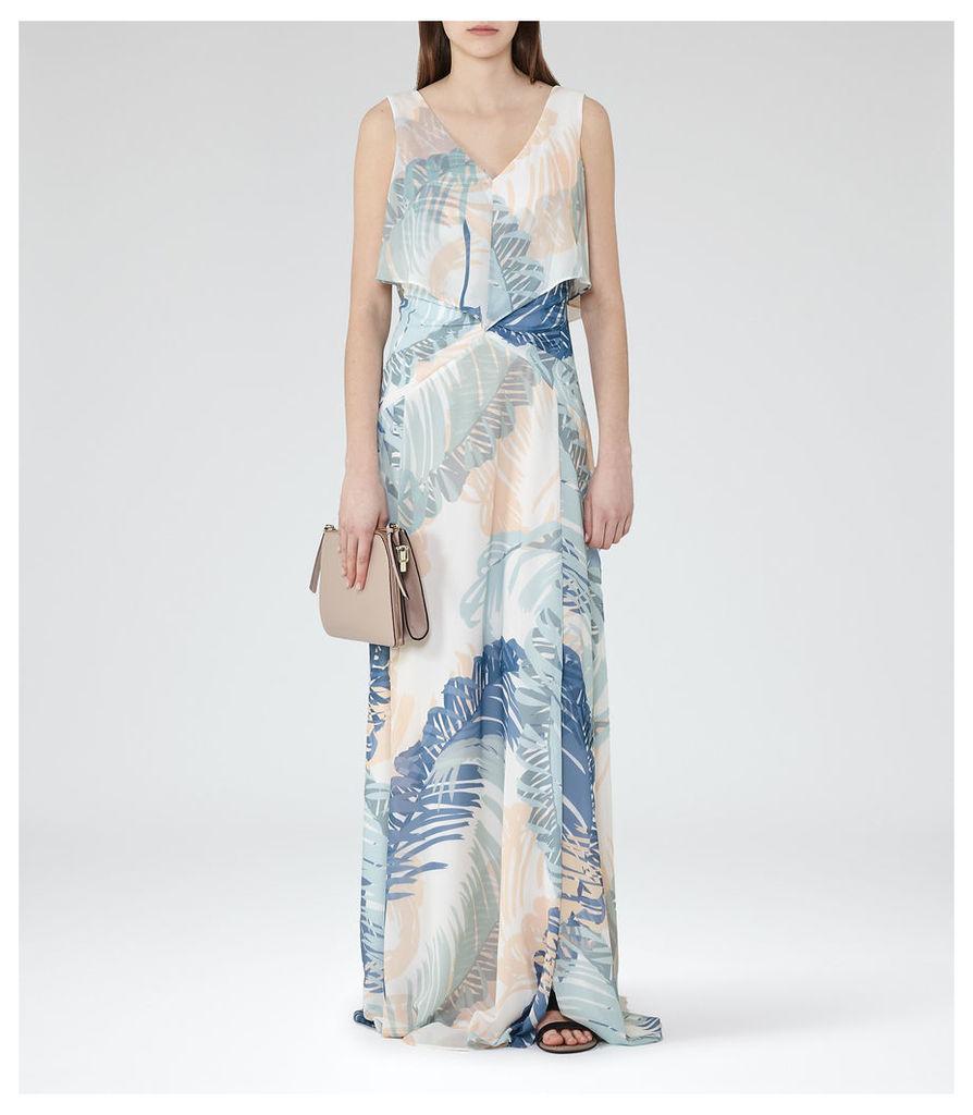 REISS Filo - Printed Maxi Dress in White, Womens