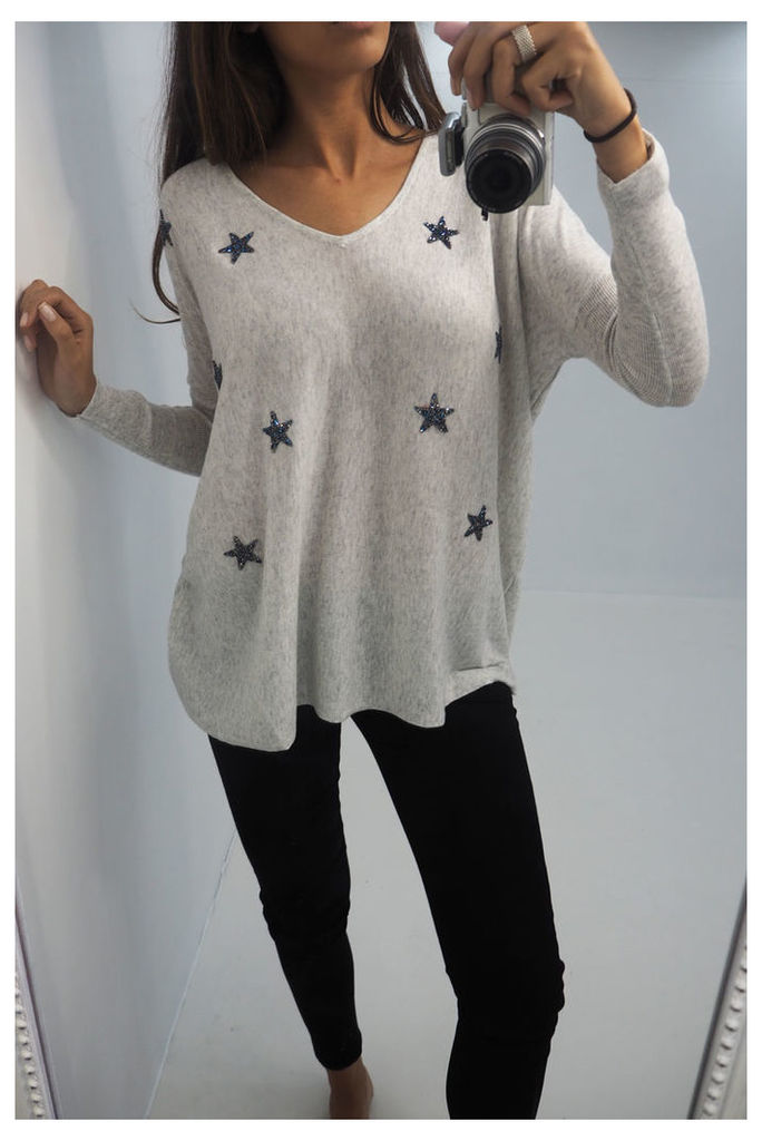 Josey scattered crushed crystal knitted jumper