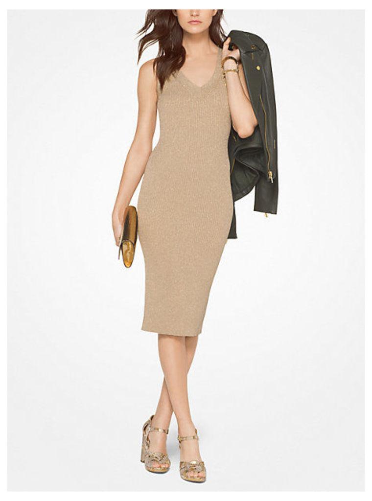 Ribbed Metallic Stretch-Viscose Dress