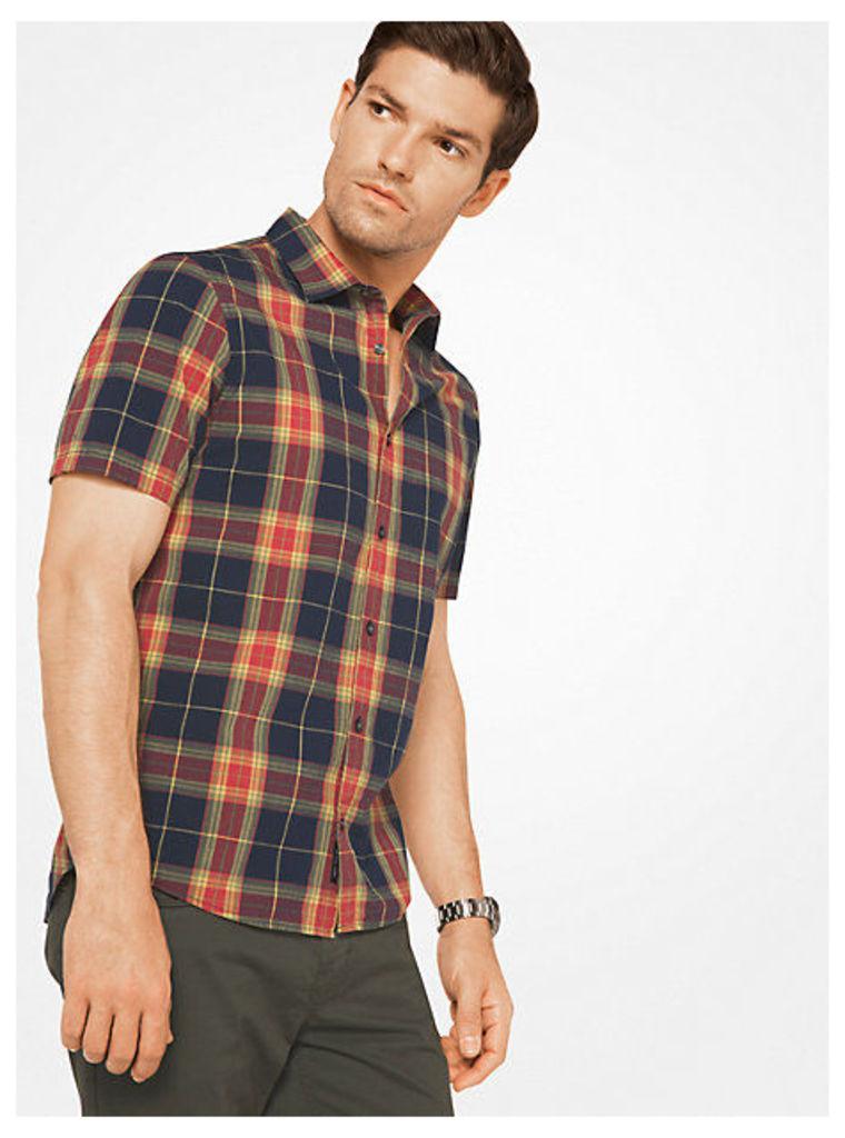 Slim-Fit Plaid Cotton Shirt