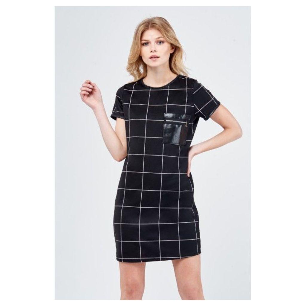 PU ZIP GRID CHECK SHIFT DRESS