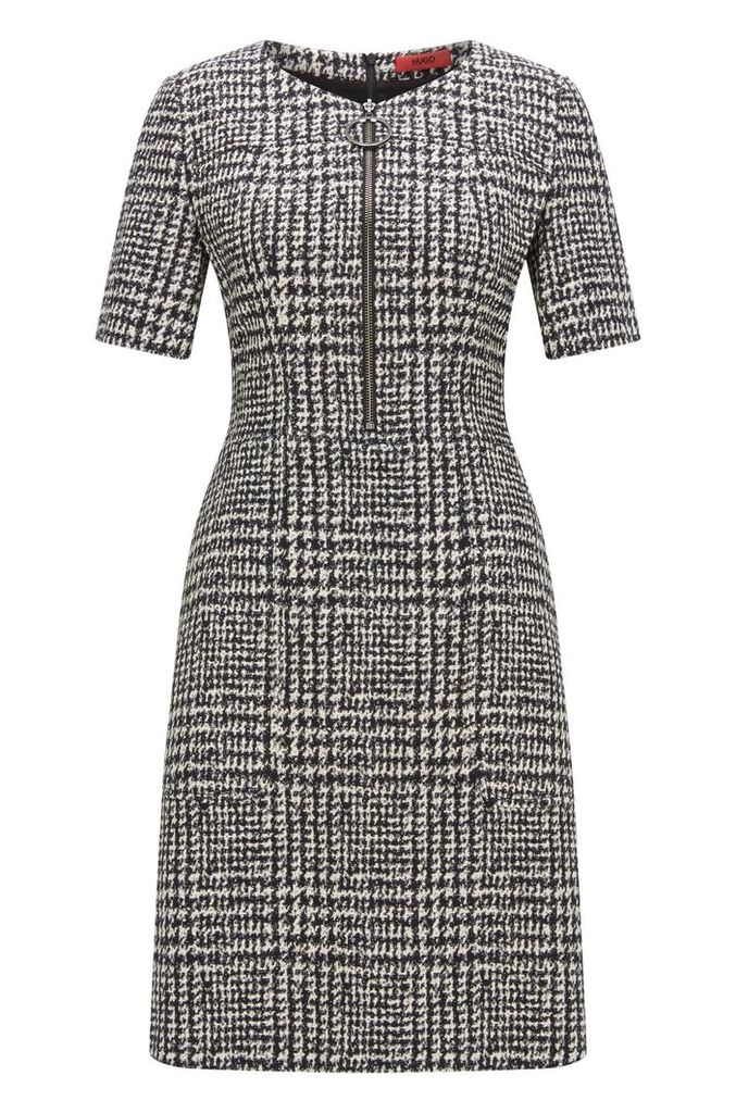 Zip-front dress in checked fabric
