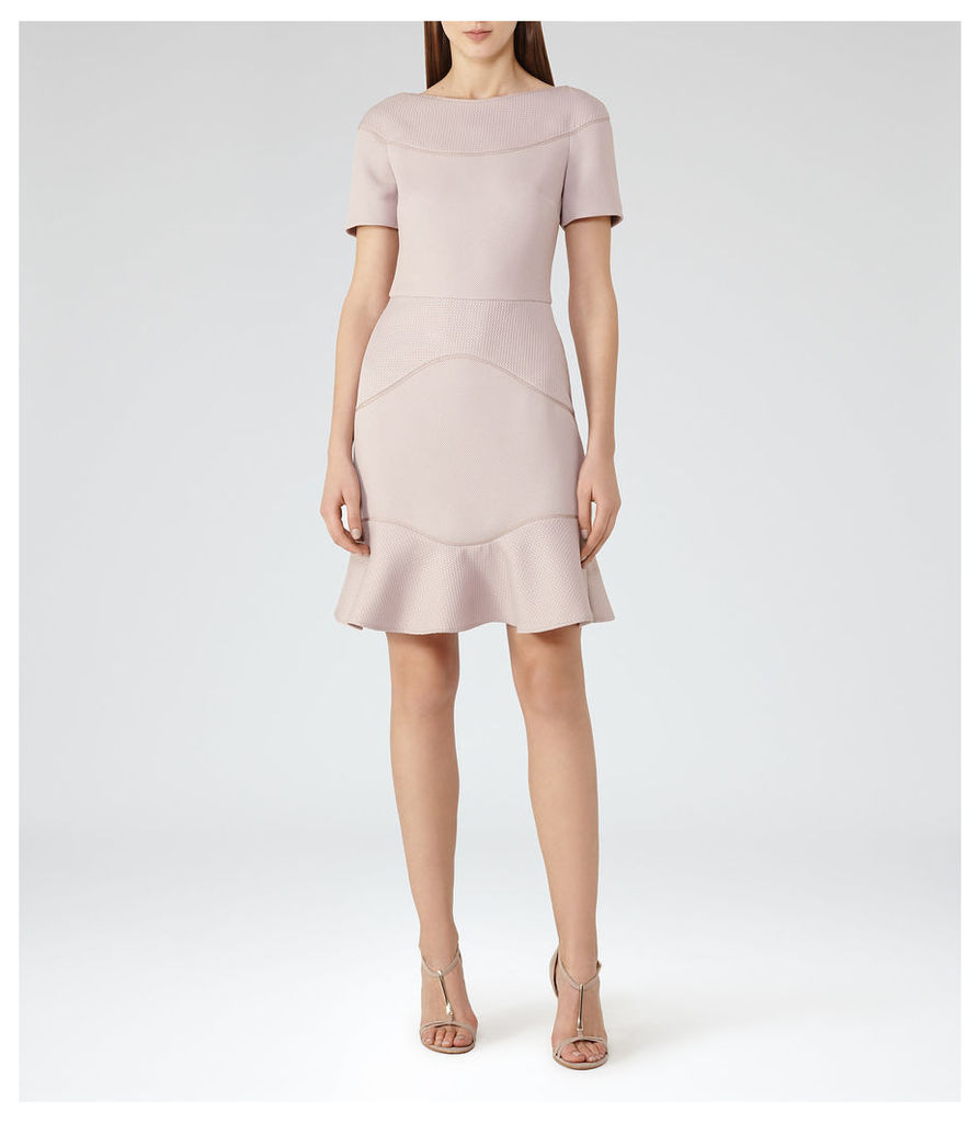 REISS Hazel - Textured Fit And Flare Dress in Grey, Womens