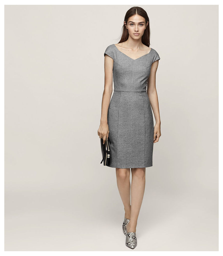 REISS Hampstead Dress - Wide-neck Tailored Dress in White, Womens