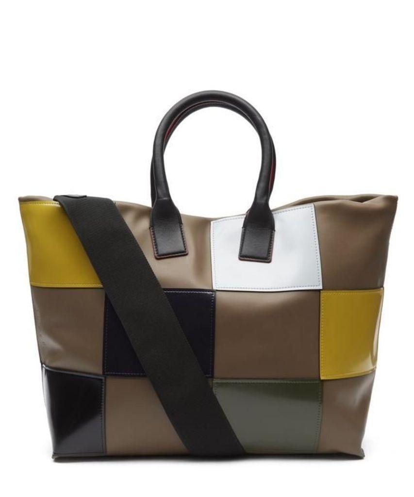 Checked Shiny Tote Bag