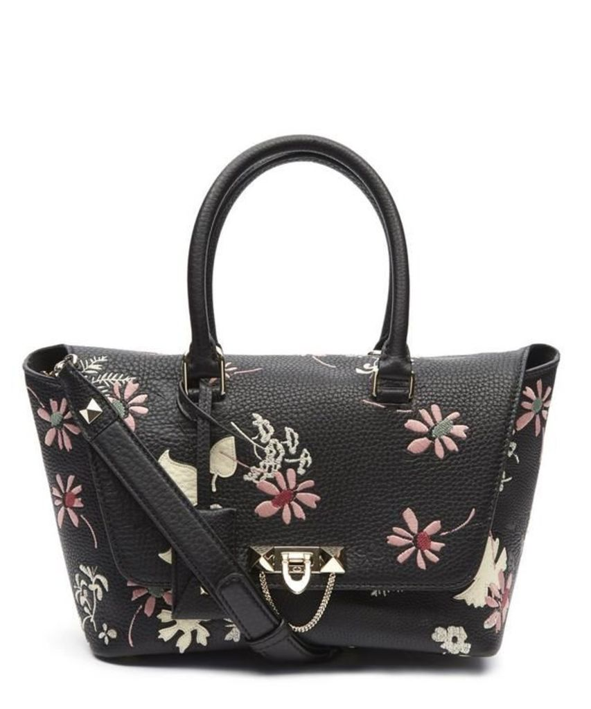 Rockstud Demilune Double Handle Embroidered Tote Bag