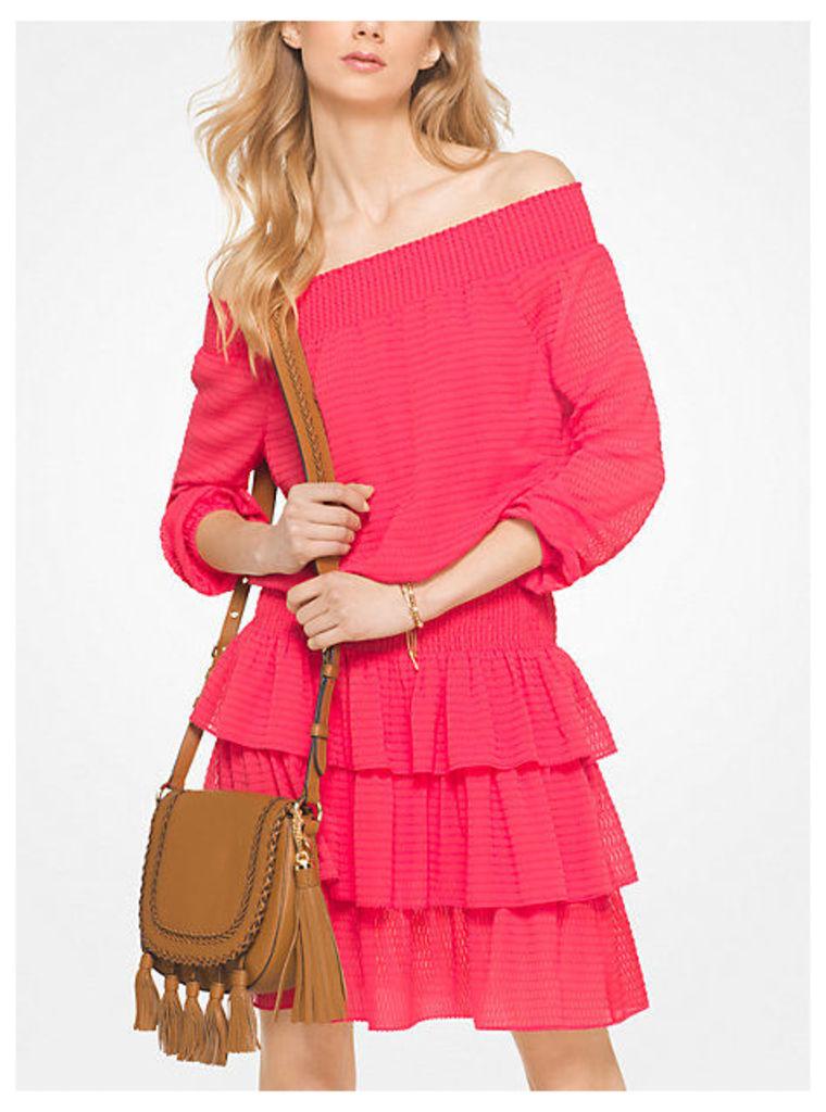 Ruffled Chiffon Off-The-Shoulder Dress