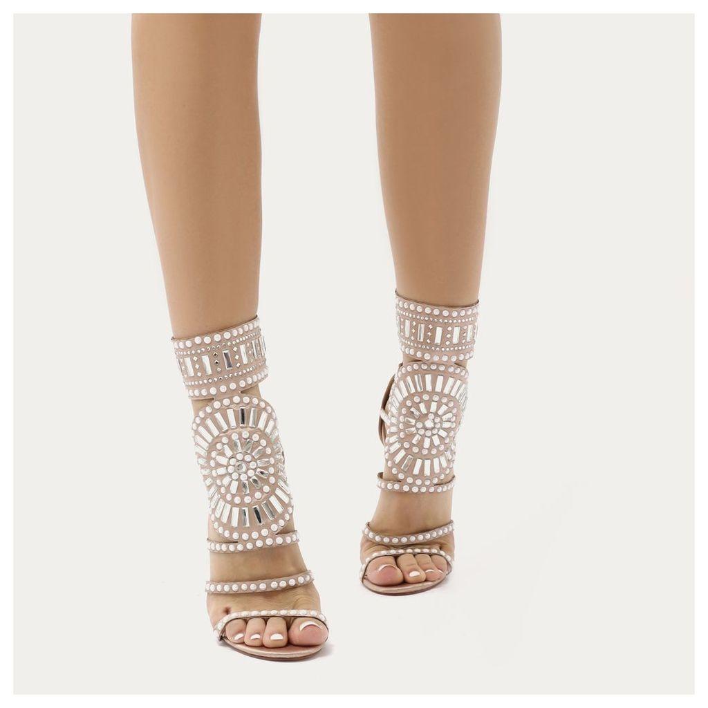 Cleopatra Embellished Stiletto Heels in Rose  Satin, Gold