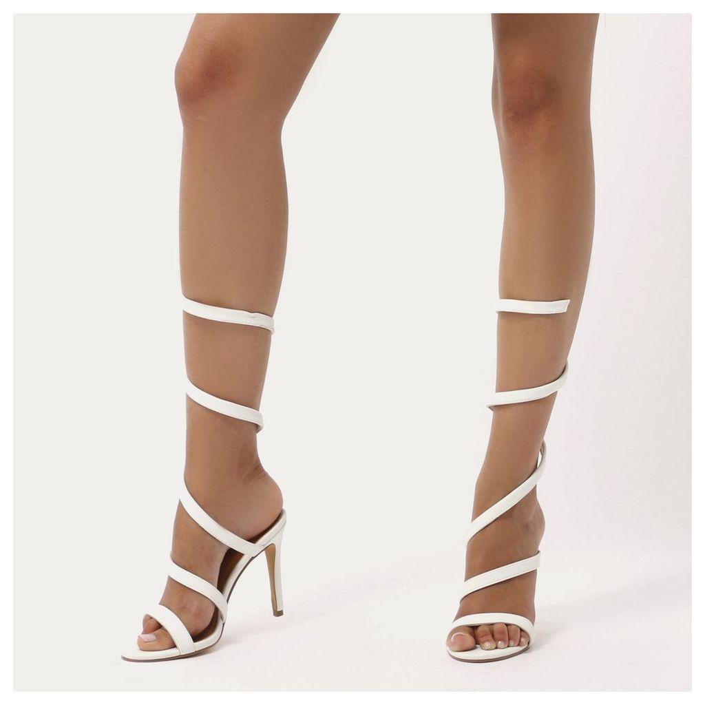 Fire Spiral Wrap Around Stiletto High Heels, White