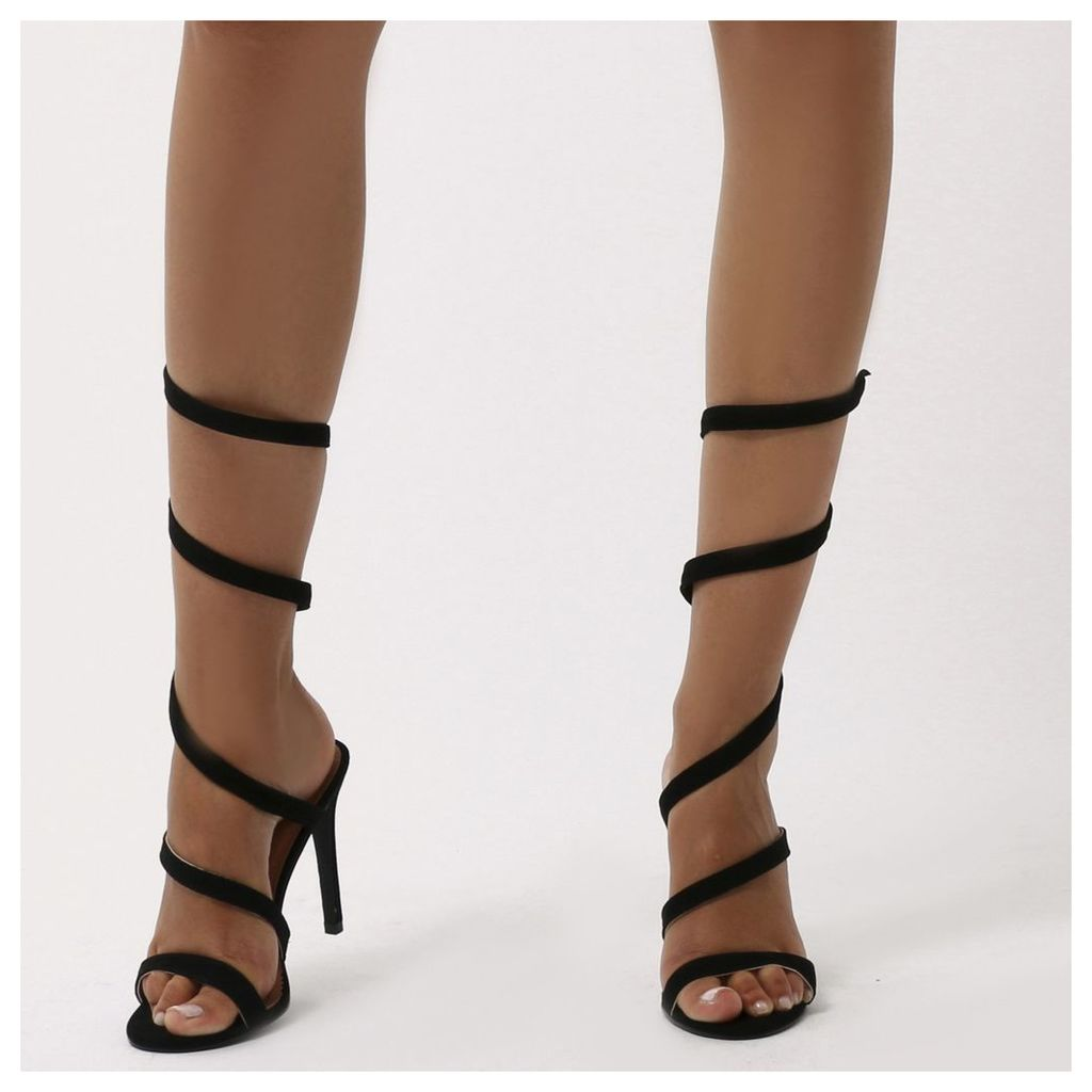 Fire Sculpted Wrap Around Stiletto High Heels  Faux Suede, Black