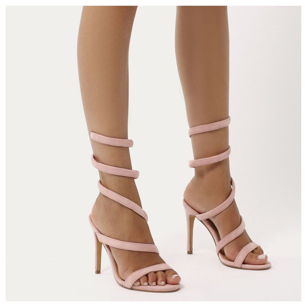 Fire Sculpted Wrap Around Stiletto High Heels in Blush  Faux Suede, Pink
