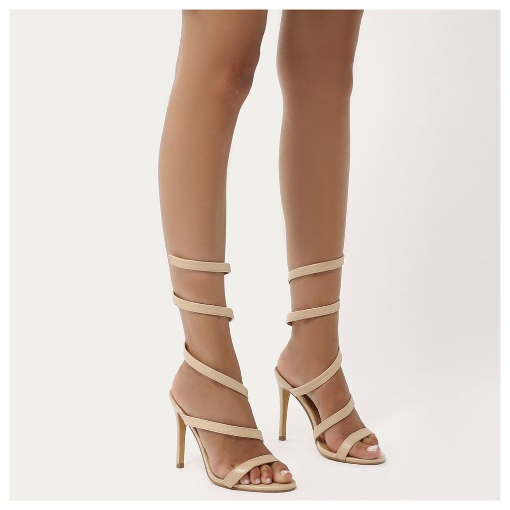 Fire Sculpted Wrap Around Stiletto High Heels  Faux Suede, Nude