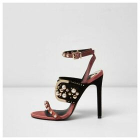 River Island Womens Dark Red studded buckle barely there sandals