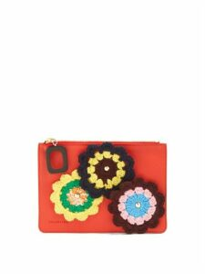 JW Anderson - Daisies-crochet Leather Pouch - Womens - Red Multi