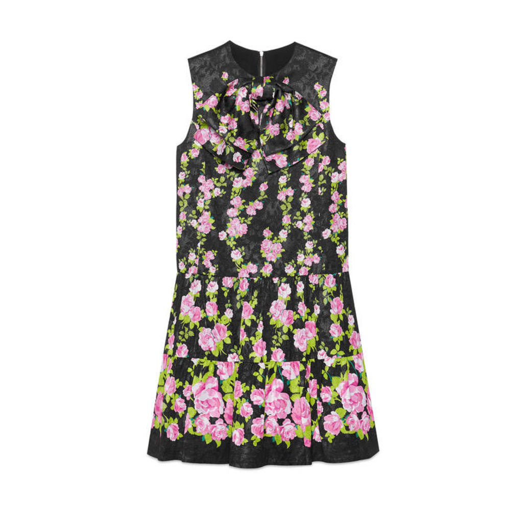 Climbing roses silk dress with neck bow