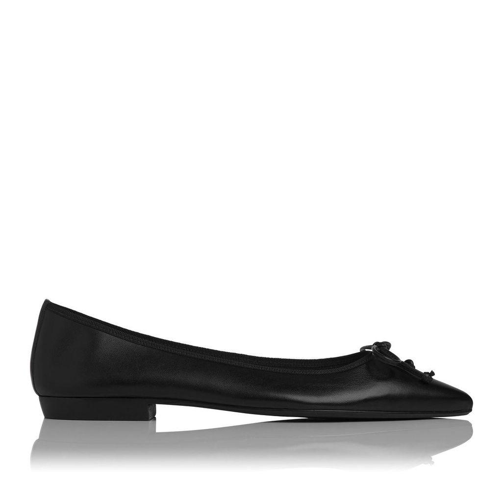 Cici Black Leather Flats