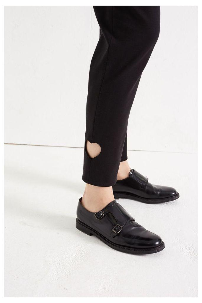 NEW Black Laser Heart Print Jersey Trousers
