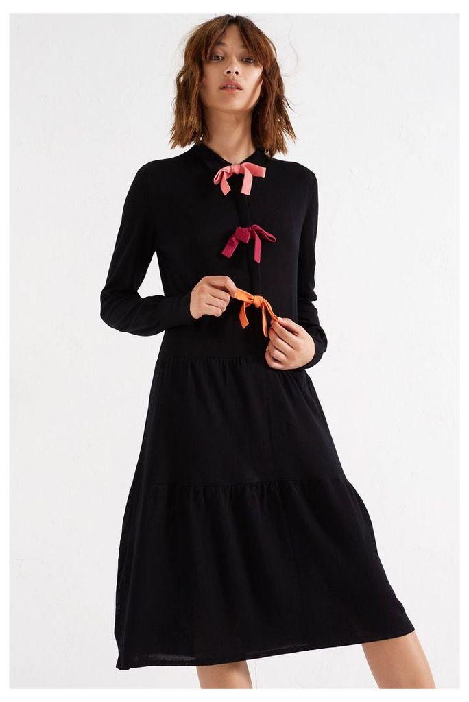 NEW Black Bow Tie Merino Dress