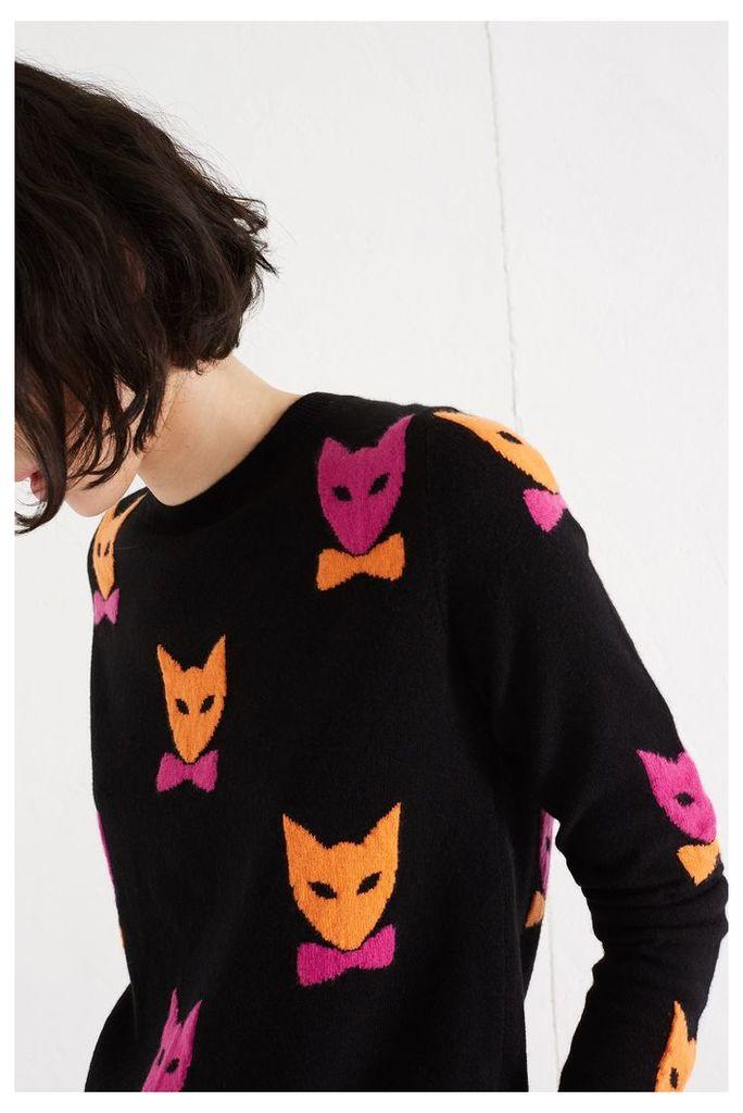 NEW Black Bowtie Cat Cashmere Sweater
