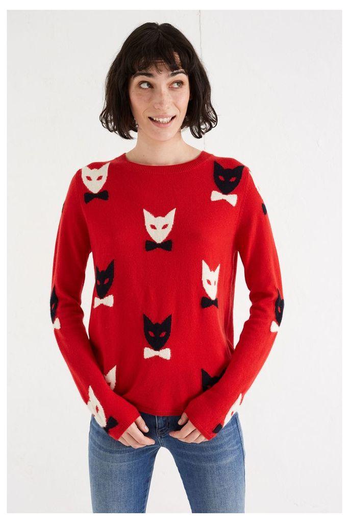 NEW Cherry Bowtie Cat Cashmere Sweater
