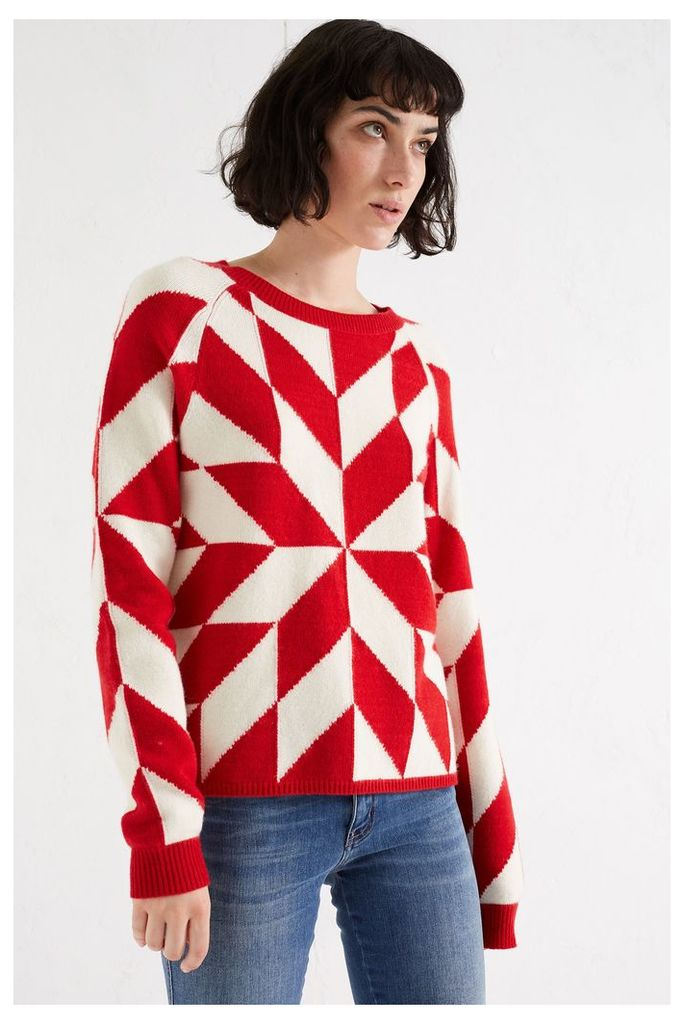 NEW Red Graphic Snowflake Cashmere Blend Sweater