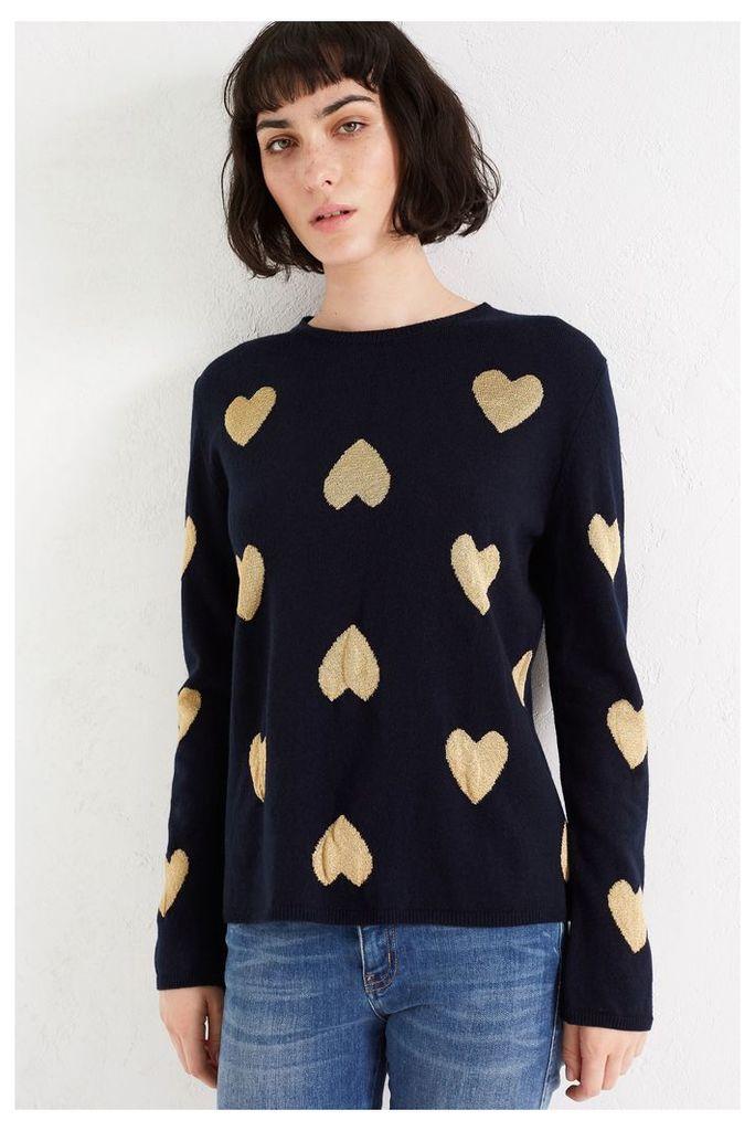 NEW Navy Lurex Heart Cashmere Blend Sweater