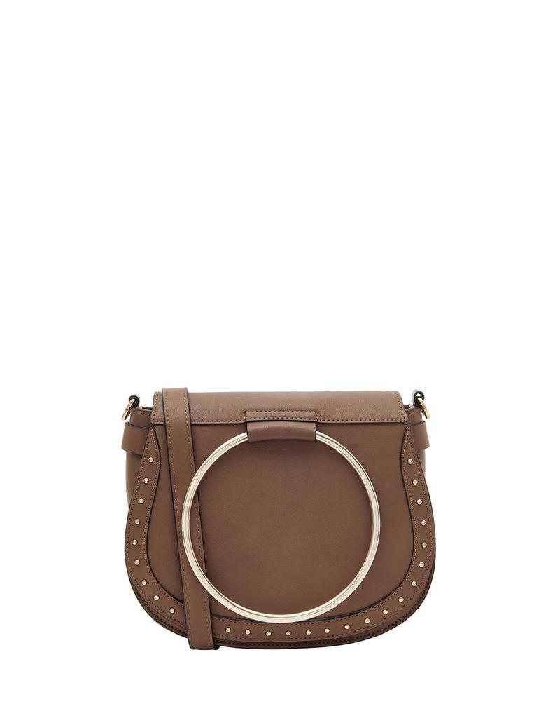 Metal Ring Saddle Cross Body Bag