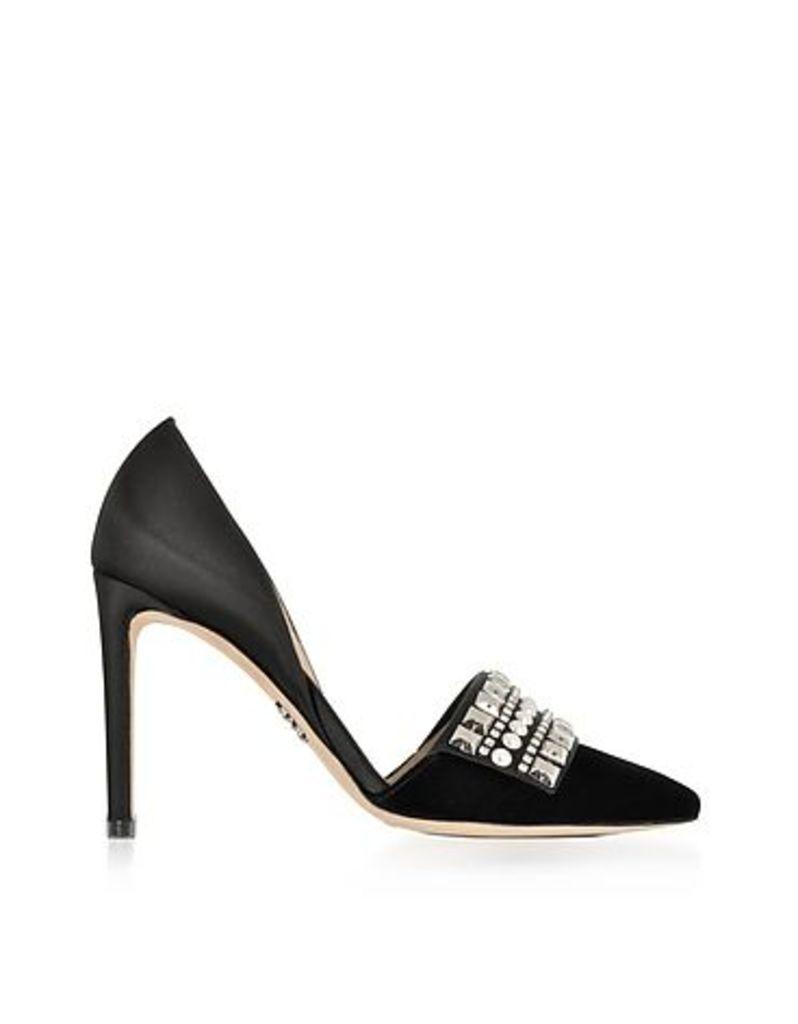 Rodo - Embellished Black Velvet and Satin High Heel Pumps