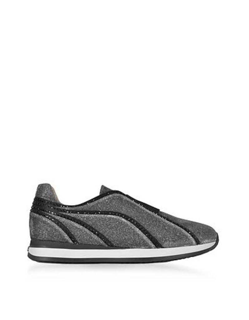 Rodo - Silver and Black Lurex Slip On Sneakers w/Black Studs