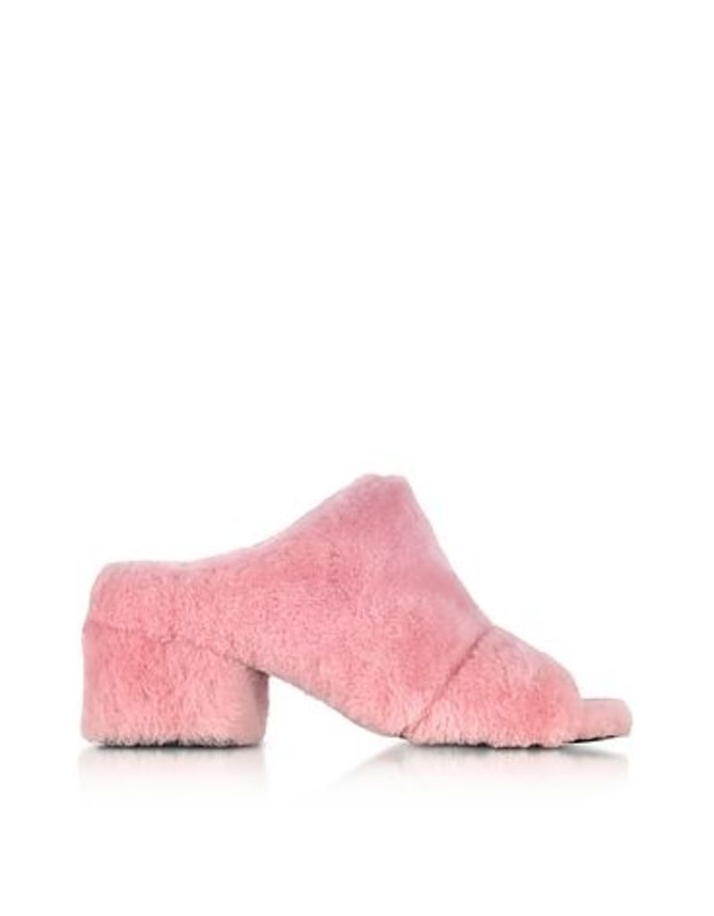 3.1 Phillip Lim - Cube Candy Pink Shearling Open Toe Mid-Heel Mules