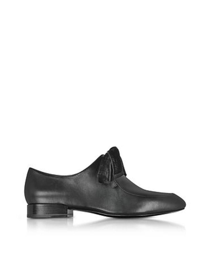 3.1 Phillip Lim - Black Leather Square Toe Lace Up Shoes