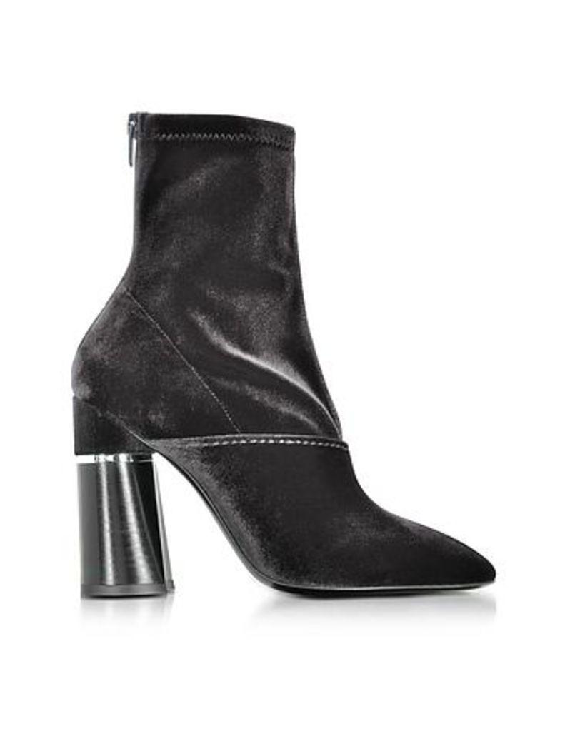3.1 Phillip Lim - Kyoto Black Velvet Stretch High Heel Ankle Boots