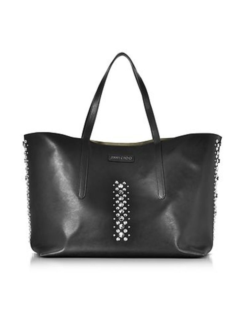 Jimmy Choo - Pimlico Rock Black Leather Tote Bag with Punk Studs