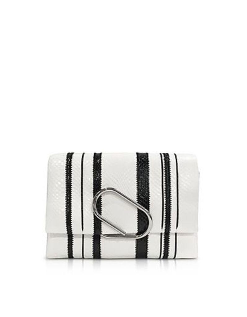 3.1 Phillip Lim - Black & White Alix Soft Flap Clutch