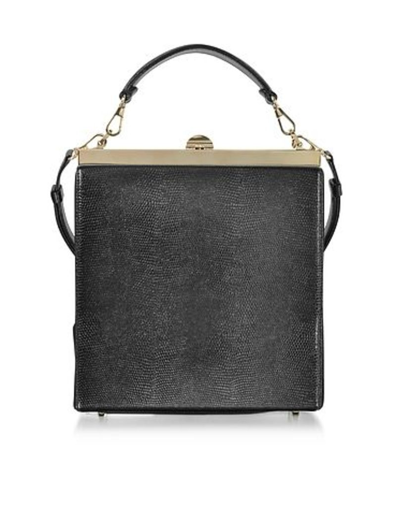 Rodo - Black Lizard Embossed Leather and Suede Tote Bag