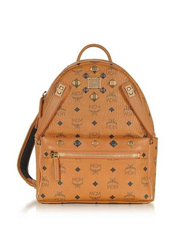 MCM - Small Cognac Signature Visetos Original Drawstring Bucket Bag