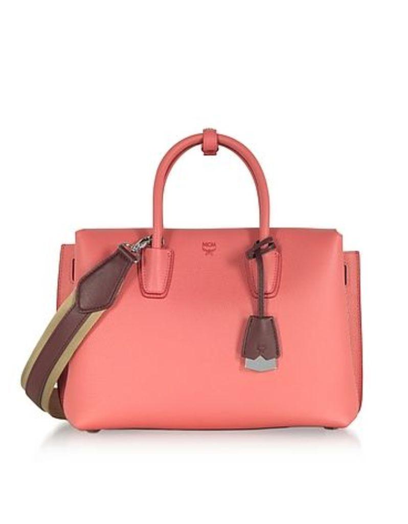 MCM - Milla Coral Pink Park Avenue Medium Leather Tote Bag