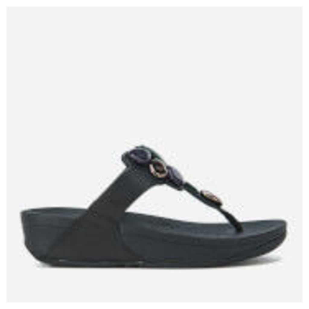 FitFlop Women's Honeybee Jewelled Toe-Thong Sandals - Black