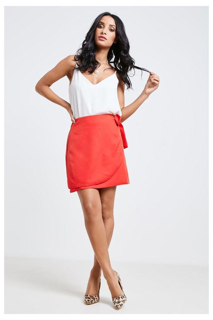 Fashion Union Wrap Skirt - Orange