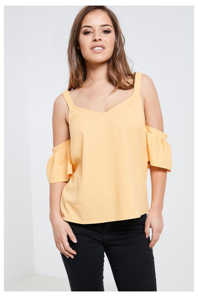 Fashion Union Frill Sleeve Cold Shoulder Top - Yellow