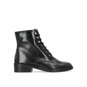Carvela Skewer - Black Flat Lace Up Biker Boots