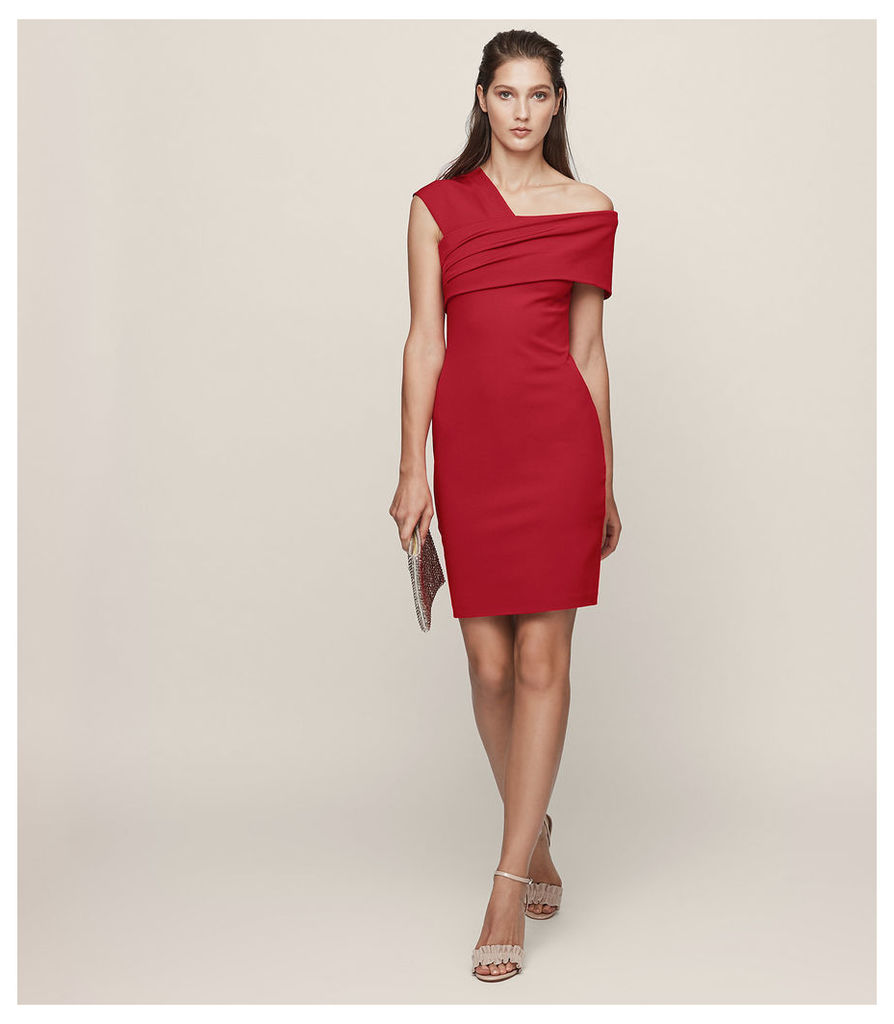 REISS Cristiana - One-shoulder Cocktail Dress in Red, Womens