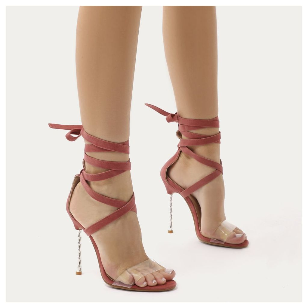 Pisces Twisted Stiletto Lace Up Heels in Blush  Faux Suede, Pink