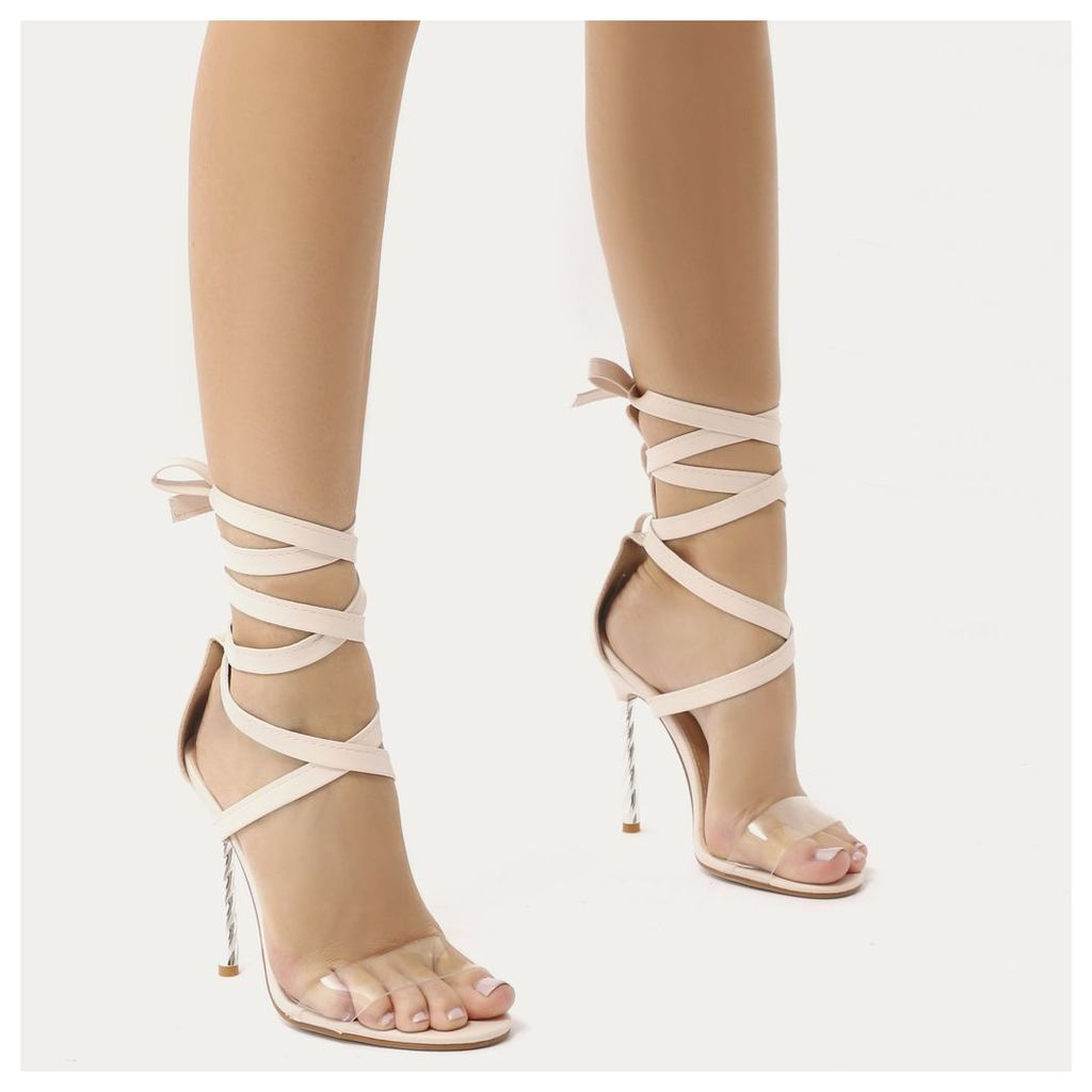 Pisces Twisted Stiletto Lace Up Heels, Nude