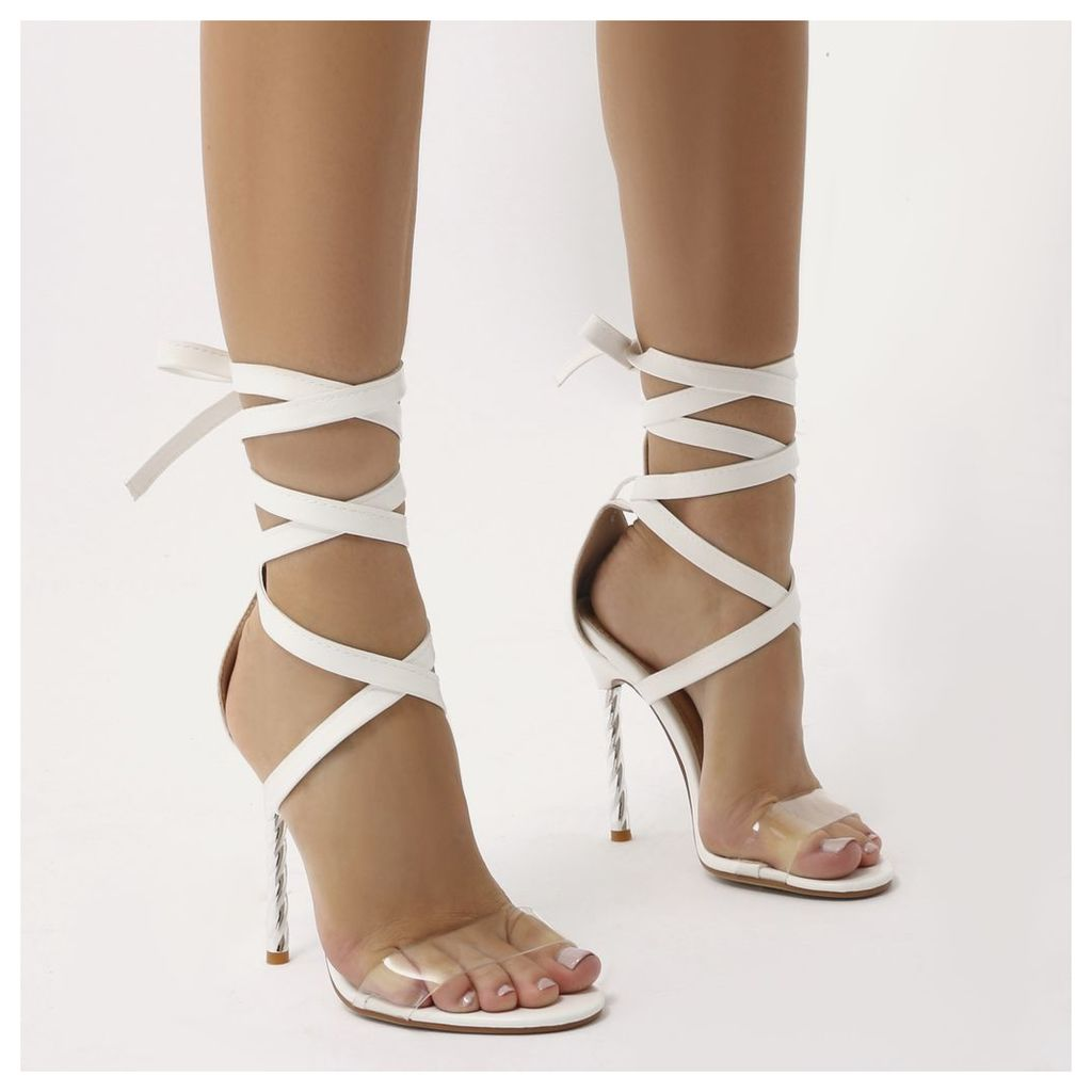Pisces Twisted Stiletto Lace Up Heels, White
