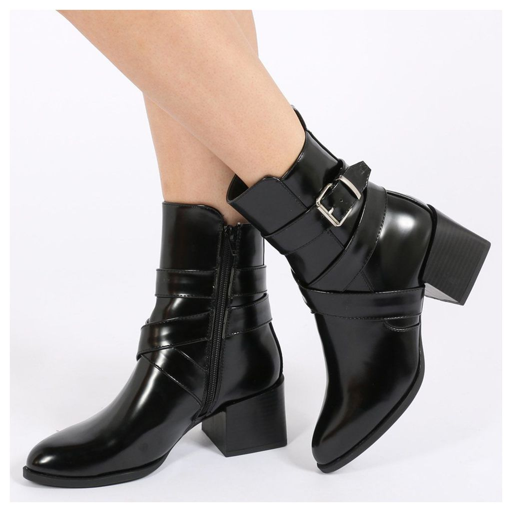 Willa Buckle Detail Cubed Heel Ankle Boots  High Shine, Black
