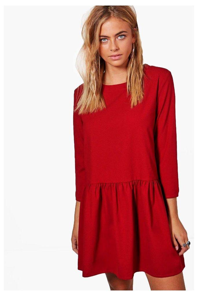 Frill Bottom Shift Dress - berry