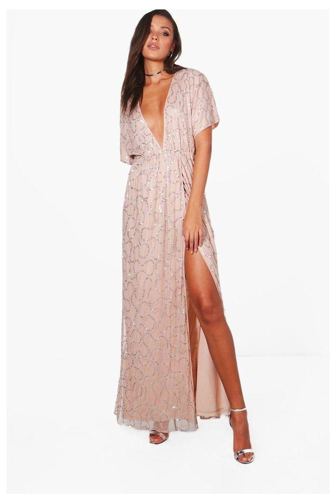 Silva Plunge Wrap Front Sequin Maxi Dress - rose